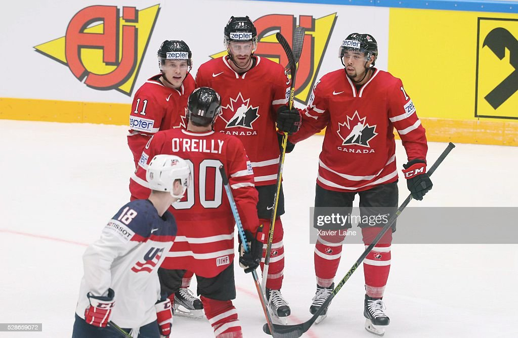 Boone Jenner #38 of Canada celebrate his goal with Brendan Gallagher #11 and Matt Dumba #14 during the 2016 IIHF World Championship between USA and Canada at Yubileyny Sports Palace ,on May 6, 2016 in Saint Petersburg, Russia.