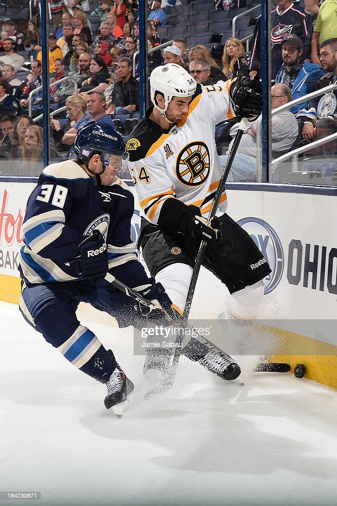 <a gi-track='captionPersonalityLinkClicked' href=/galleries/search?phrase=Boone+Jenner&family=editorial&specificpeople=6480665 ng-click='$event.stopPropagation()'>Boone Jenner</a> #38 of the Columbus Blue Jackets and <a gi-track='captionPersonalityLinkClicked' href=/galleries/search?phrase=Adam+McQuaid&family=editorial&specificpeople=2238883 ng-click='$event.stopPropagation()'>Adam McQuaid</a> #54 of the Boston Bruins battle for possession of the puck during the third period on October 12, 2013 at Nationwide Arena in Columbus, Ohio. Boston defeated Columbus 3-1.