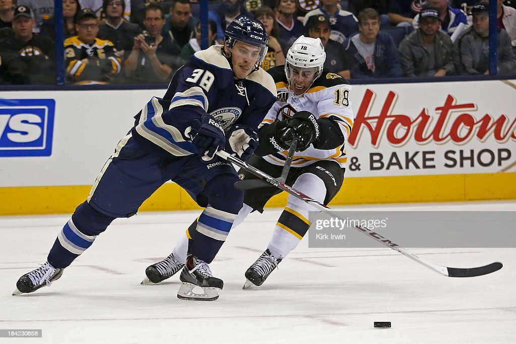 <a gi-track='captionPersonalityLinkClicked' href=/galleries/search?phrase=Boone+Jenner&family=editorial&specificpeople=6480665 ng-click='$event.stopPropagation()'>Boone Jenner</a> #38 of the Columbus Blue Jackets and Reilly Smith #18 of the Boston Bruins battle for control of the puck during the third period on October 12, 2013 at Nationwide Arena in Columbus, Ohio. Boston defeated Columbus 3-1.