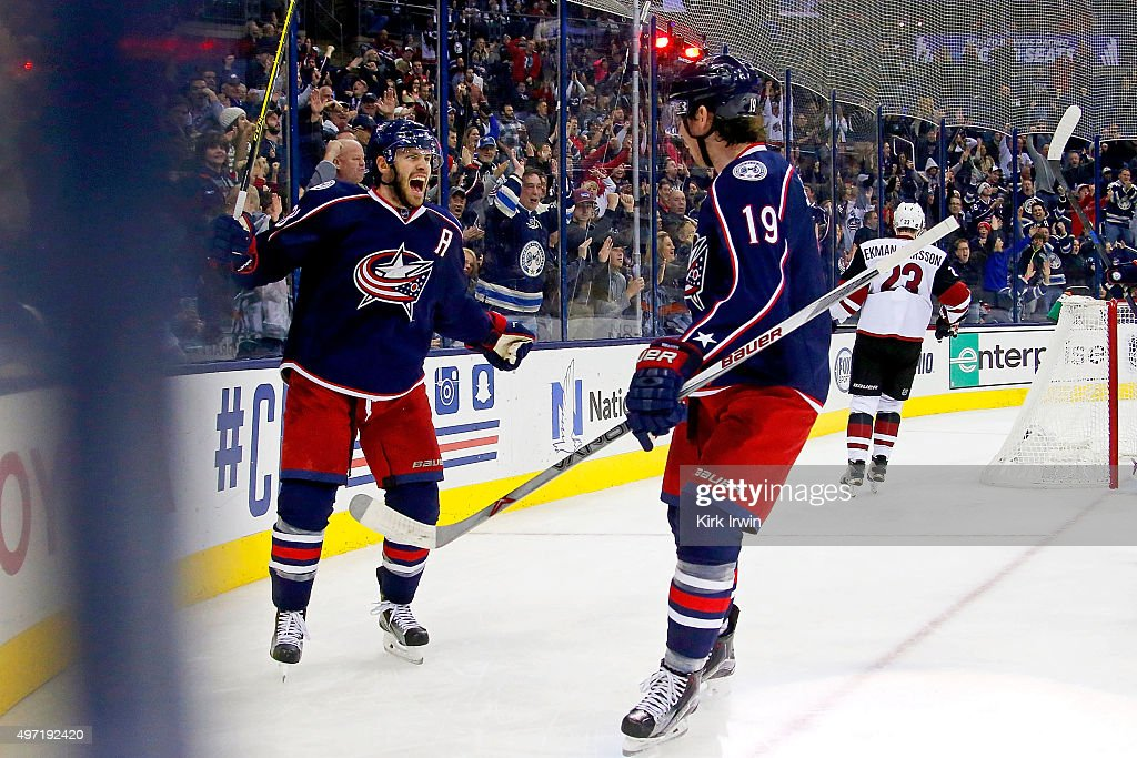 Boone Jenner #38 of the Columbus Blue Jackets celebrates after scoring a redirected goal form Ryan Johansen #19 of the Columbus Blue Jackets during the second period of the game against the Arizona Coyotes on November 14, 2015 at Nationwide Arena in Columbus, Ohio.
