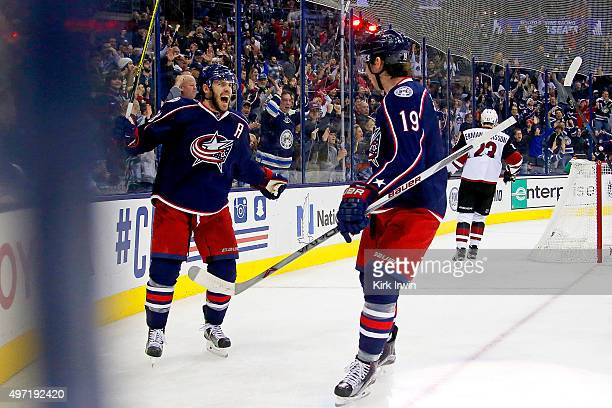 Boone Jenner of the Columbus Blue Jackets celebrates after scoring a redirected goal form Ryan Johansen of the Columbus Blue Jackets during the...