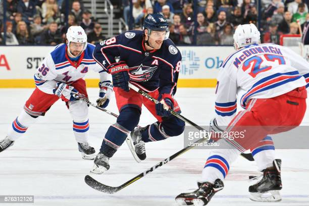 Boone Jenner of the Columbus Blue Jackets skates against the New York Rangers on November 17 2017 at Nationwide Arena in Columbus Ohio