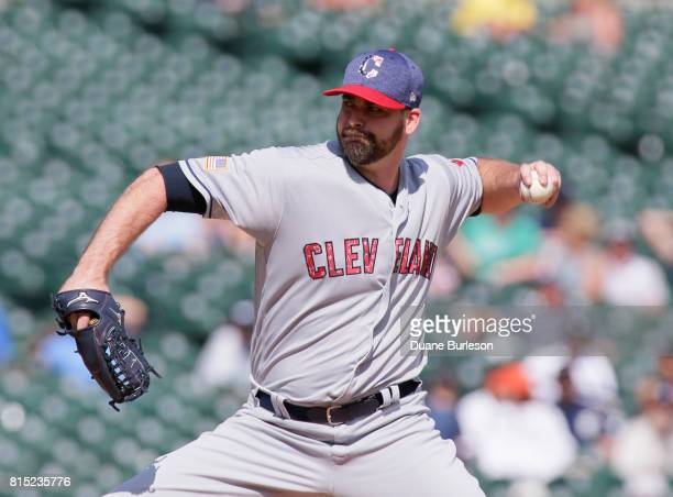 Boone Logan of the Cleveland Indians pitches against the Detroit Tigers at Comerica Park on July 2 2017 in Detroit Michigan