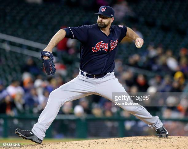 Boone Logan of the Cleveland Indians pitches against the Detroit Tigers during the eighth inning at Comerica Park on May 2 2017 in Detroit Michigan...