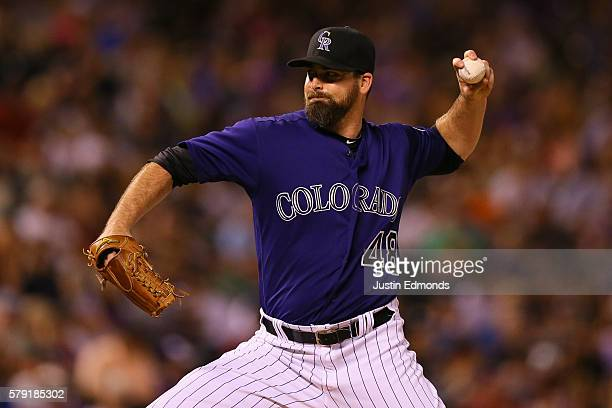 Boone Logan of the Colorado Rockies delivers to home plate during the eighth inning against the Atlanta Braves at Coors Field on July 22 2016 in...
