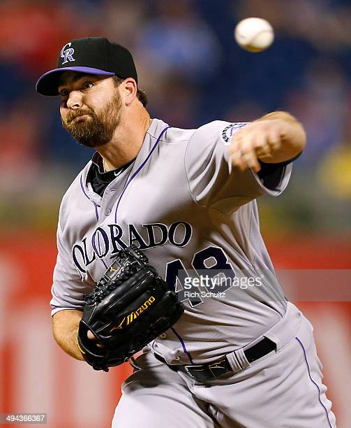 Boone Logan of the Colorado Rockies on the mound against the Philadelphia Phillies during a game at Citizens Bank Park on May 27 2014 in Philadelphia...