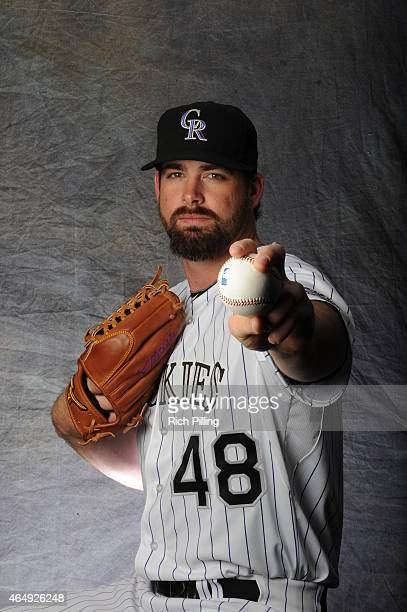 Boone Logan of the Colorado Rockies poses for a portrait during Photo Day on March 1 2015 at Salt River Fields at Talking Stick in Scottsdale Arizona