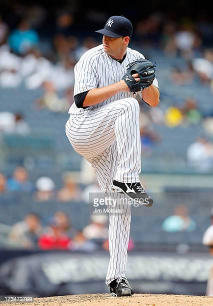 Boone Logan of the New York Yankees in action against the Kansas City Royals at Yankee Stadium on July 11 2013 in the Bronx borough of New York City...