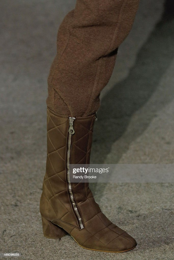 A boot on the runway at Marc Jacobs during Mercedes-Benz Fashion Week Fall 2014 at Lexington Avenue Armory on February 13, 2014 in New York City.