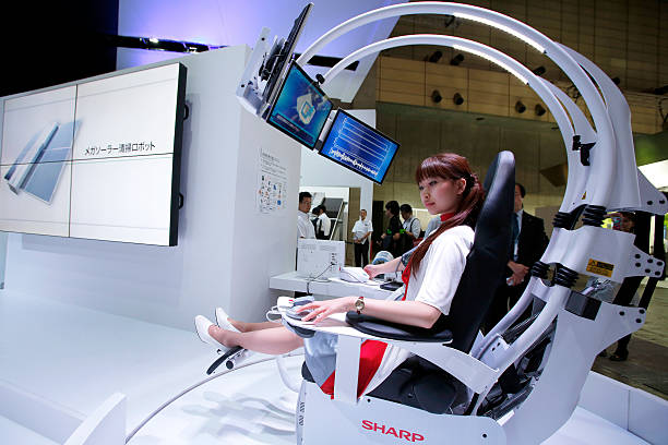 Exhibition Booth Assistant : Latest electronics products are displayed at ceatec japan