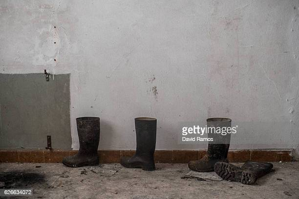Boots are seen at the offices of Pozo La Muerte closed in 2005 on November 24 2016 in Pumarabule Spain The struggling coal mining industry is on its...