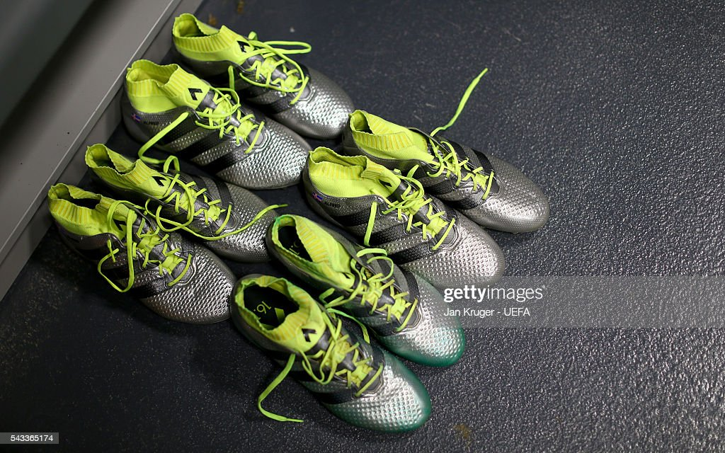 Boots of England players are seen in the dressing room prior to the UEFA EURO 2016 round of 16 match between England and Iceland at Allianz Riviera Stadium on June 27, 2016 in Nice, France.