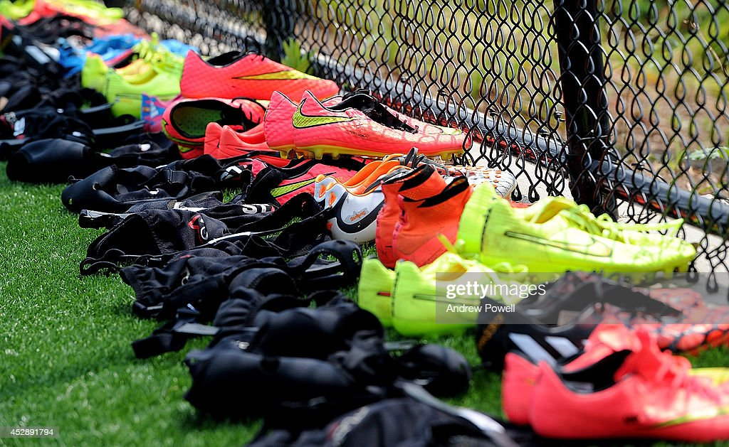 Boots of Liverpool players before a training session at Princeton University on July 29, 2014 in Princeton, New Jersey.