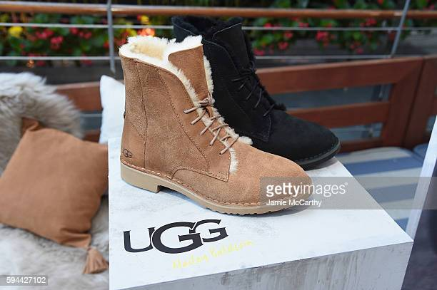 UGG boots on display at an event introducing Hailey Baldwin for UGG Classic Street on August 23 2016 in New York City