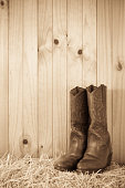 Western style cowboy / cowgirl boots on hay with timber background and copy space