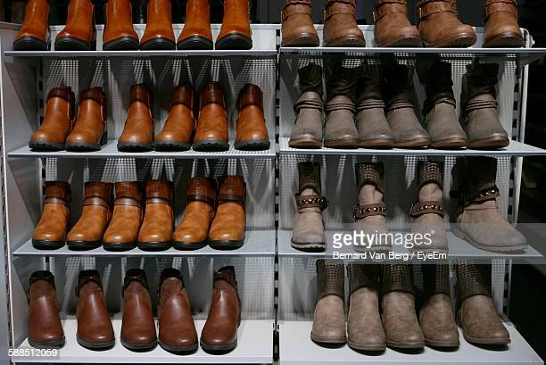 Boots On Rack In Shop