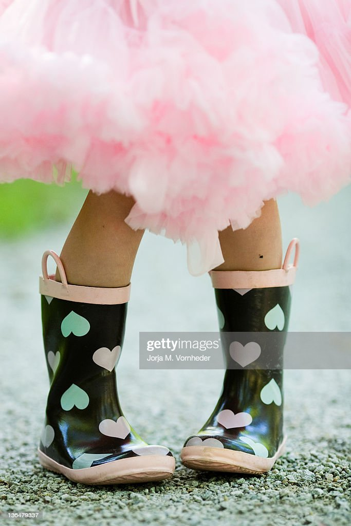 Boots with hearts on : Stock Photo