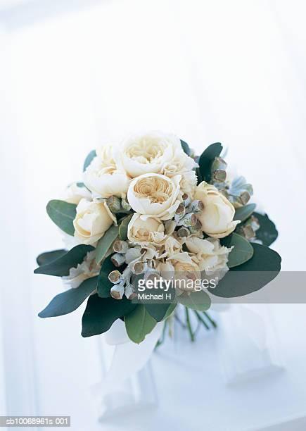Boquet of rose, eucalyptus, and hydrangea