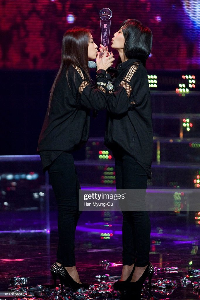Bora and Hyorin of South Korean girl group SISTAR19 attend during the Mnet 'M CountDown' at CJ E&M Building on February 14, 2013 in Seoul, South Korea.