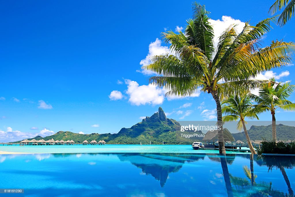 Bora Bora Infinity Pool : Stock Photo