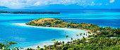 Bora Bora beach with turquoise water, Tahiti, French Polynesia