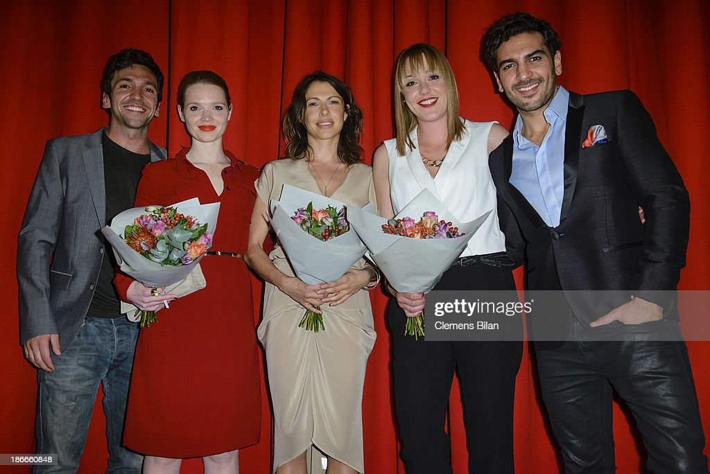 Bora Dagtekin, <a gi-track='captionPersonalityLinkClicked' href=/galleries/search?phrase=Karoline+Herfurth&family=editorial&specificpeople=636213 ng-click='$event.stopPropagation()'>Karoline Herfurth</a>, <a gi-track='captionPersonalityLinkClicked' href=/galleries/search?phrase=Jana+Pallaske&family=editorial&specificpeople=2106638 ng-click='$event.stopPropagation()'>Jana Pallaske</a>, Alwara Hoefels and <a gi-track='captionPersonalityLinkClicked' href=/galleries/search?phrase=Elyas+M%27Barek&family=editorial&specificpeople=3967406 ng-click='$event.stopPropagation()'>Elyas M'Barek</a> attend the 'Fack Ju Gohte' Berlin Premiere at CineStar on November 2, 2013 in Berlin, Germany.