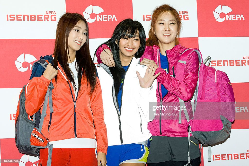 Bora, Hyorin and Soyou of South Korean girl group SISTAR attend a promotional event for the NEPA History Show 2013 'ISENBERG' Launching Show at COEX on January 22, 2013 in Seoul, South Korea.