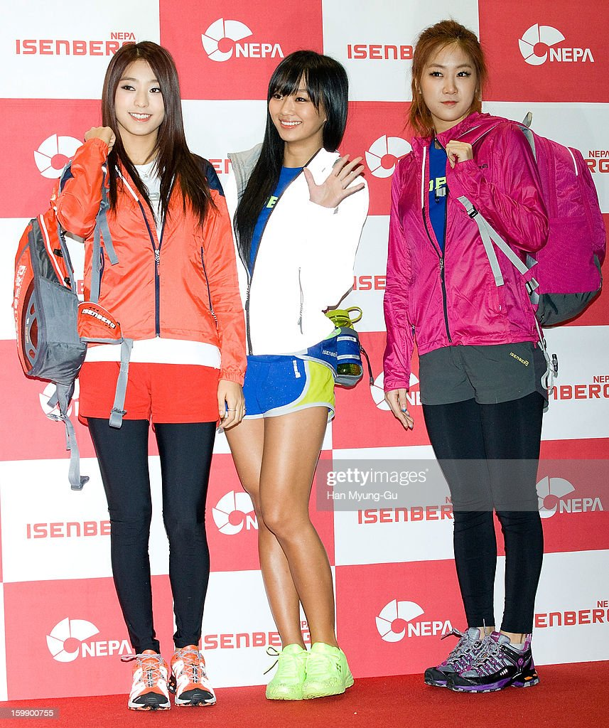 Bora, <a gi-track='captionPersonalityLinkClicked' href=/galleries/search?phrase=Hyorin&family=editorial&specificpeople=9128941 ng-click='$event.stopPropagation()'>Hyorin</a> and Soyou of South Korean girl group SISTAR attend a promotional event for the NEPA History Show 2013 'ISENBERG' Launching Show at COEX on January 22, 2013 in Seoul, South Korea.
