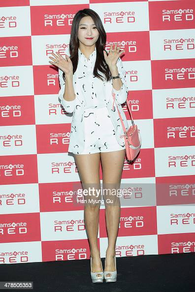 Bora of South Korean girl group SISTAR attends the 'Samsonite Red' 2014 S/S Collection Presentation at Platoon Kunsthalle on March 13 2014 in Seoul...