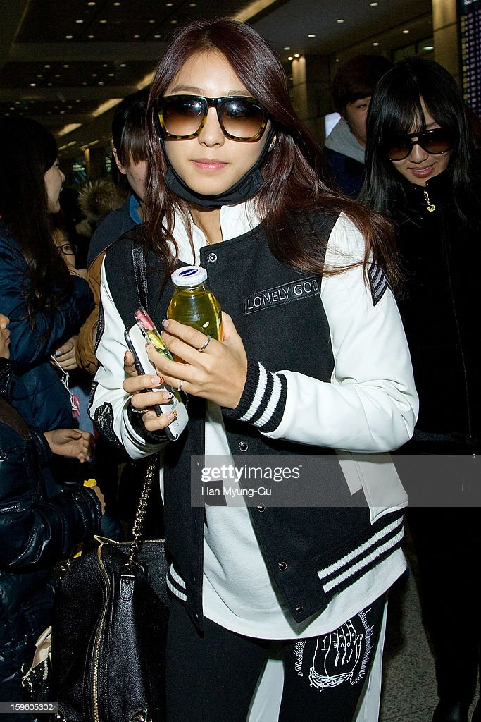 Bora of South Korean girl group SISTAR is seen at Incheon Inaternational Airport on January 16, 2013 in Incheon, South Korea.