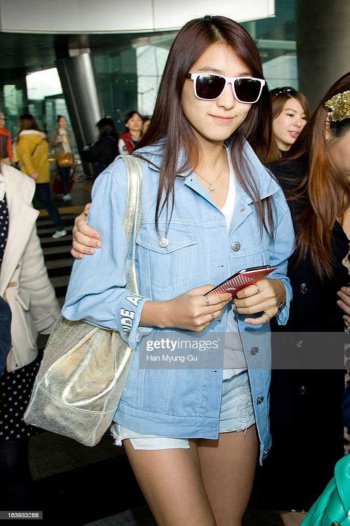 Bora of South Korean girl group SISTAR is seen upon arrival at Incheon International Airport on March 17, 2013 in Incheon, South Korea.