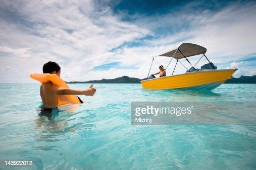 Bora-Bora Boy Hitchhiker, Child Hitchhiking Series : Stock Photo