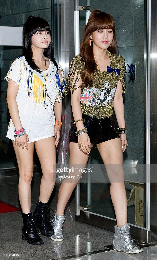 Bo-Ram and So-Yeon of South Korean girl group T-ara attend during at the Guess 30th anniversary concert named 'Guess Party' on July 6, 2012 in Seoul, South Korea.