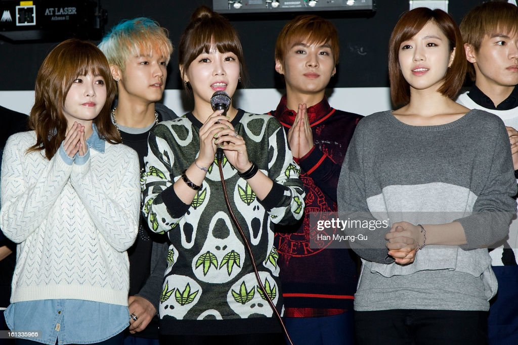 Boram, Soyeon (So-Yeon) and Eunjung (Eun-Jung) of South Korean girl group T-ara attend the Core Contents Media Artists New Year's Day Charity Event at Gibalhan Chicken Store on February 9, 2013 in Bucheon, South Korea.