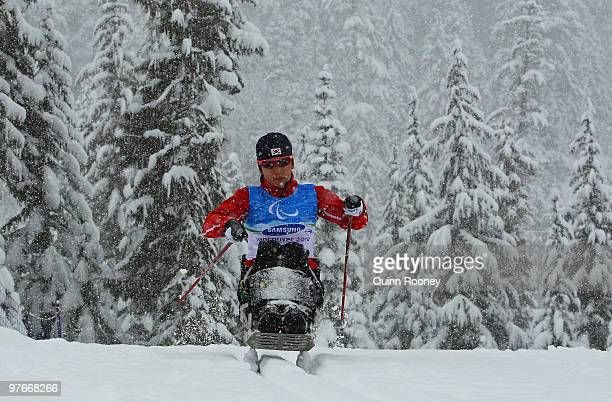 BoRaMi Seo of South Korea practices prior to the 2010 Vancouver Winter Paralympics at Whistler Paralympic Park on March 12 2010 in Whistler Canada