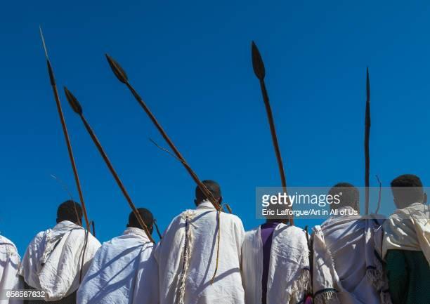 Borana tribe men with their ororo sticks during the Gada system ceremony Oromia Yabelo Ethiopia on March 7 2017 in Yabelo Ethiopia