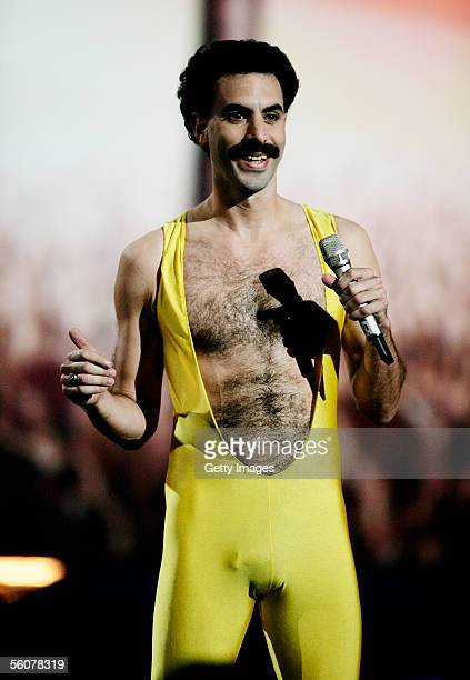 Borat performs on stage at the 12th annual MTV Europe Music Awards 2005 at the Atlantic Pavilion on November 3 2005 in Lisbon Portugal