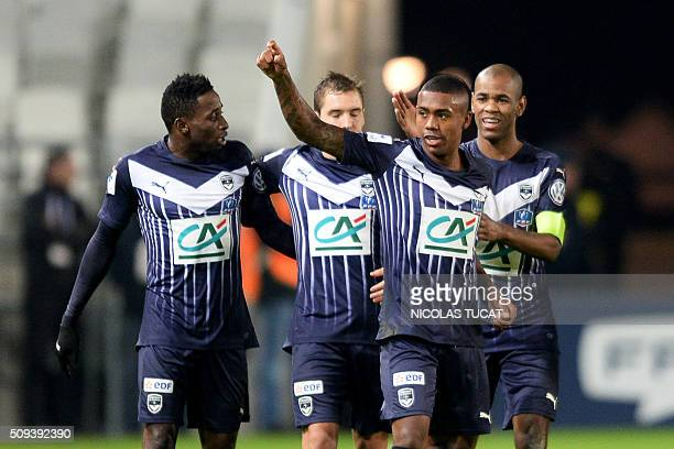 Bordeaux' Brazilian forward Malcom celebrates after scoring a goal during the French Cup round of 16 football match between Bordeaux and Nantes on...