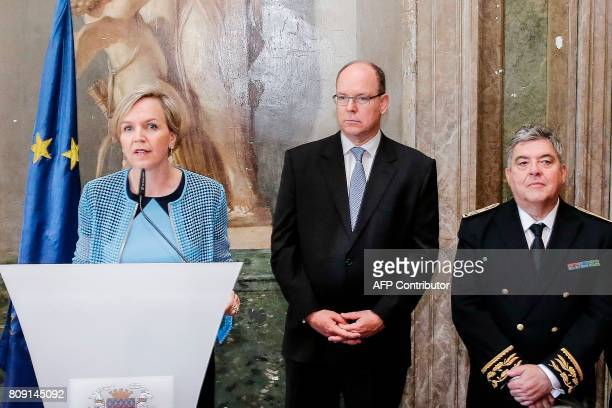 Bordeaux Deputy Mayor Virginie Calmels delivers a speech next to Prince Albert II of Monaco and Aquitaine prefect Pierre Partout at the city hall of...