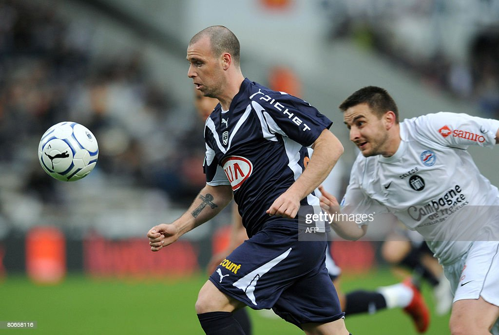 Bordeaux' Fernando Cavenaghi vies with Caen's Yoan Goufran during their French L1 football match on April 13 2008 at the ChabanDelmas stadium in...