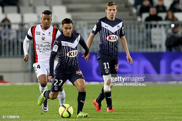 Bordeaux' French midfielder Adam Ounas shots the ball during the French Ligue 1 football match between Bordeaux and Nice on February 19 2016 at the...