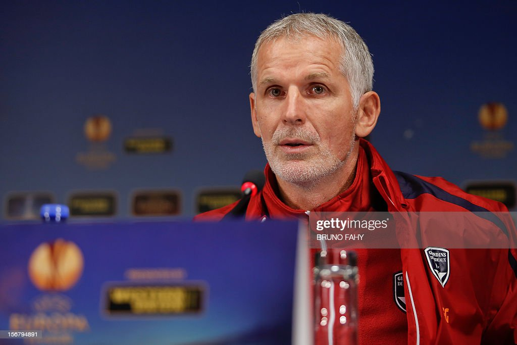 Bordeaux head coach Francis Gillot looks on at a press conference on November 21,2012 in Bruges on the eve of their UEFA Europa League Group D football match against Club Brugge. AFP PHOTO / BELGA PHOTO BRUNO FAHY