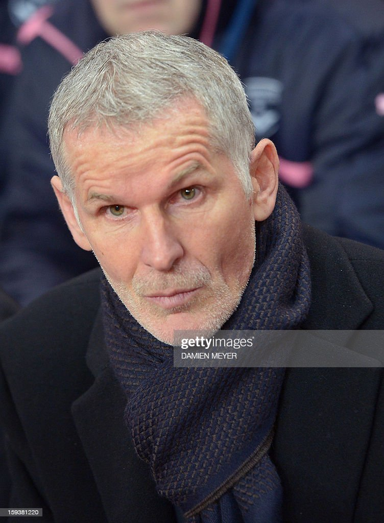 Bordeaux head coach Francis Gillot looks on during a French L1 football match between Rennes and Bordeaux on January 12, 2013 at the route de Lorient stadium in Rennes, western France.