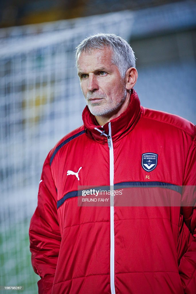 Bordeaux head coach Francis Gillot looks on during a training session on November 21,2012 in Bruges on the eve of their UEFA Europa League Group D football match against Club Brugge.