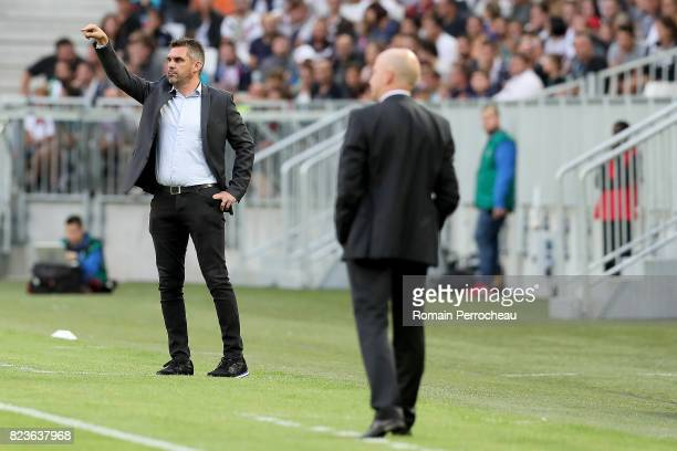 Bordeaux' head coach Jocelyn Gourvennec gestures during the UEFA Europa League qualifying match between Bordeaux and Videoton at Stade Matmut...