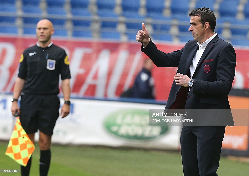 Bordeaux' head coach Ulrich Rame gestures during the French L1 football match between Troyes (ESTAC) and Bordeaux (FCGB) on April 30, 2016 at the Aube Stadium in Troyes, eastern France.