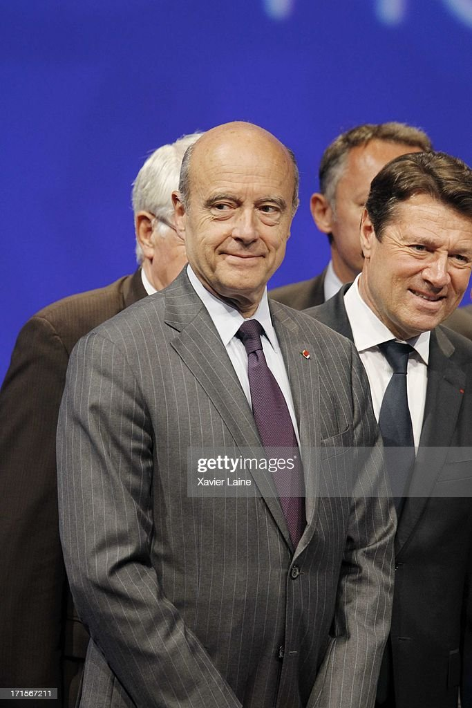 Bordeaux Mayor <a gi-track='captionPersonalityLinkClicked' href=/galleries/search?phrase=Alain+Juppe&family=editorial&specificpeople=235359 ng-click='$event.stopPropagation()'>Alain Juppe</a> (L) and Nice Mayor <a gi-track='captionPersonalityLinkClicked' href=/galleries/search?phrase=Christian+Estrosi&family=editorial&specificpeople=641468 ng-click='$event.stopPropagation()'>Christian Estrosi</a> attend during EURO 2016 Logo & Slogan Launch on June 26, 2013 in Paris, France.