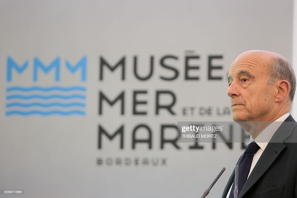 Bordeaux mayor Alain Juppe attends a ceremony of the laying of the first stone of the city's future Museum of the Sea and the Marine (Musee de la Mer et de la Marine) on April 28, 2016 in Bordeaux. / AFP / THIBAUD