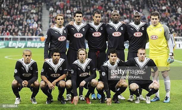 Bordeaux players pose for a team photo prio to the Bayern Munich vs Girondins de Bordeaux Champions League Group A football match in Munich on...