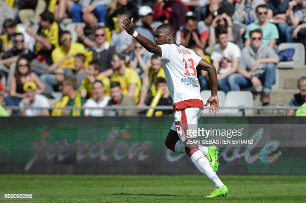 Bordeaux 's French midfielder Younousse Sankhare celebrates after scoring during the French L1 football match Nantes vs Bordeaux on April 16 2017 at...